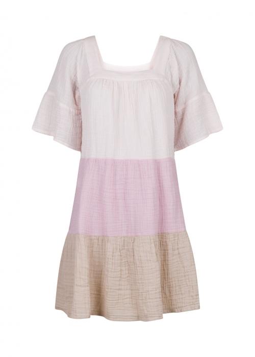 Mallory gauze block dress ROSE