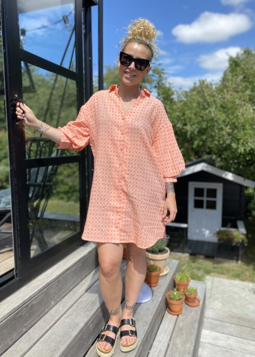 Carrie shirt dress ORANGE CHECK