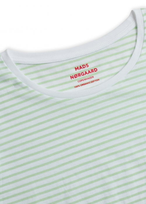 Organic favorite stripe teasy t-shirt WHITE / PASTEL GREEN