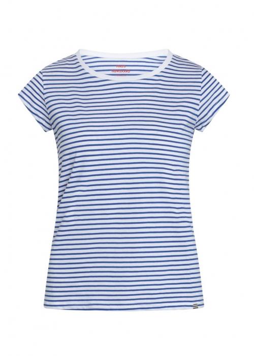 Organic favorite stripe teasy t-shirt WHITE / PRINCESS BLUE