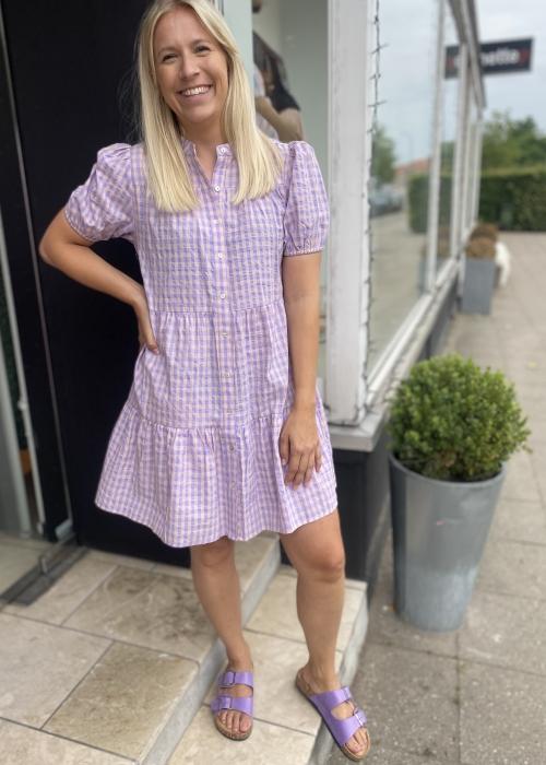 Sanna ss dress PURPLE CHECK