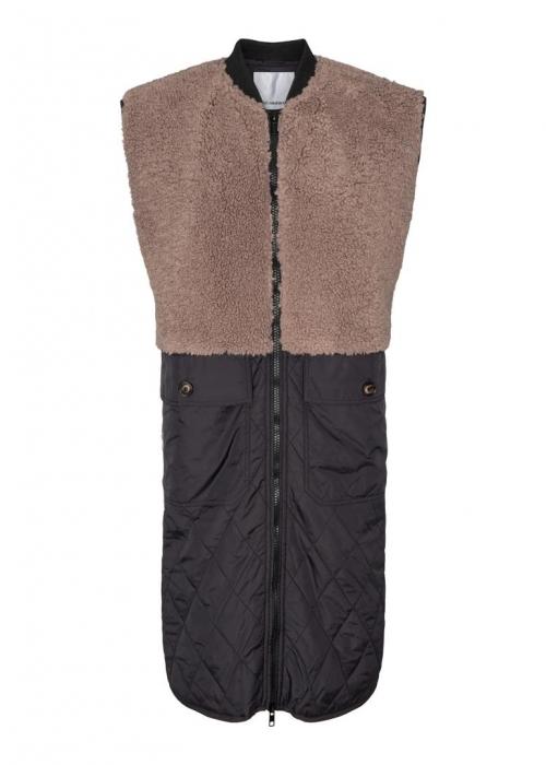 Alley fur mix vest WALNUT