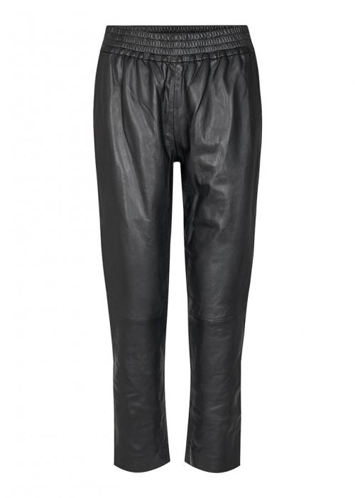 Shiloh Crop Leather Pants BLACK