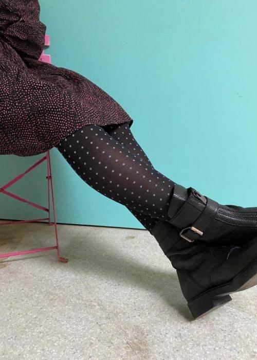 Anna mini dot tights BLACK
