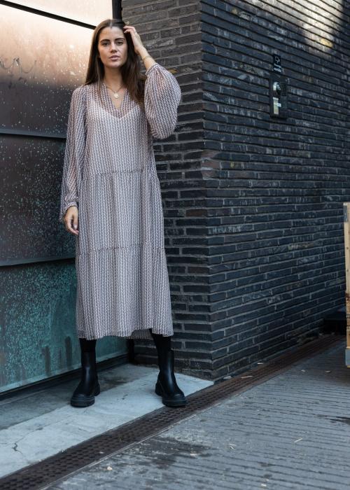 Nadine Abstract Stripe Dress CAMEL