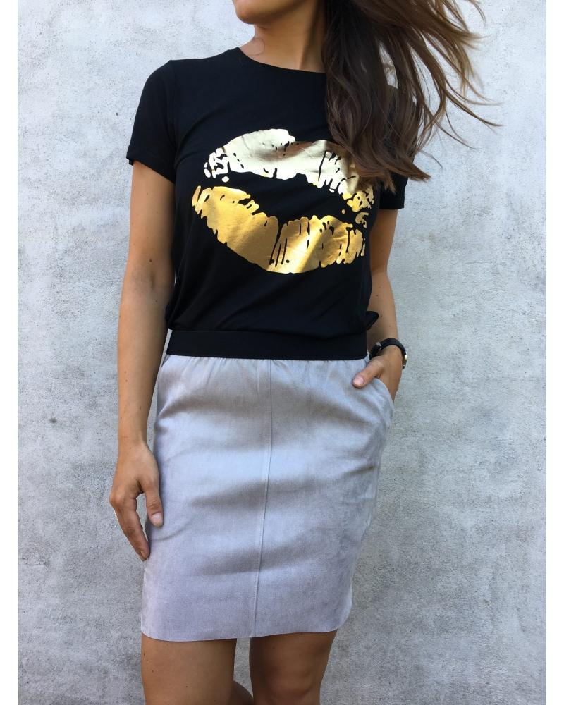 Neo Noir Tanna suede skirt GREY