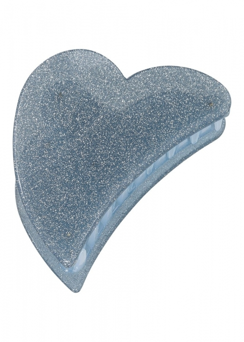 Big heart claw BLUE GLITTER
