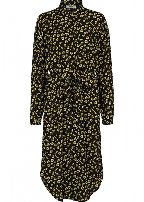 Amber Genni LS dress BLACK/YELLOW FLOWER