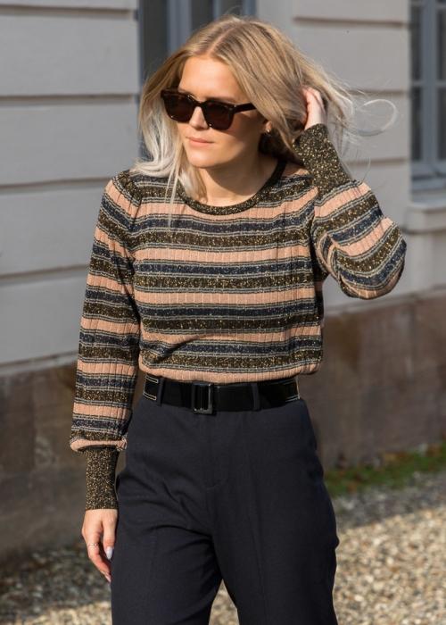 Loline stripe knit blouse GOLD