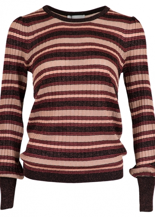 Neo Noir Loline stripe knit blouse EVENING ROSE