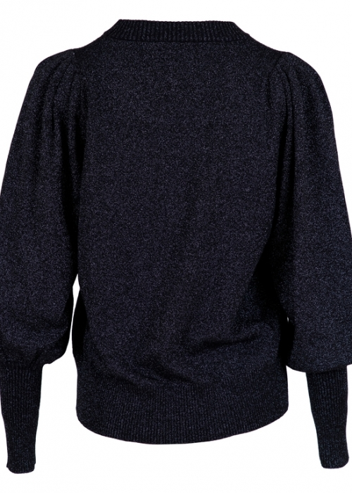 Neo Noir Kelsey Lurex Knit Blouse NAVY