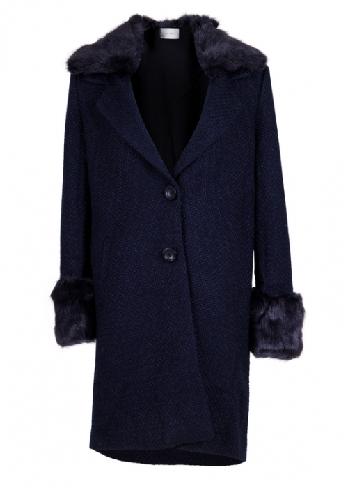 Neo Noir Daya faux fur coat NAVY