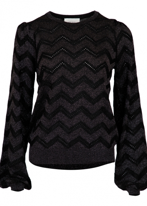 Neo Noir Hana knit blouse BLACK