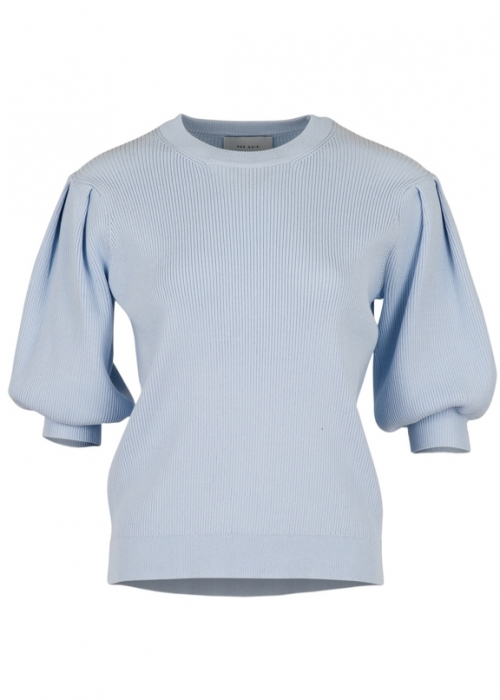 Bora solid knit blouse LIGHT BLUE