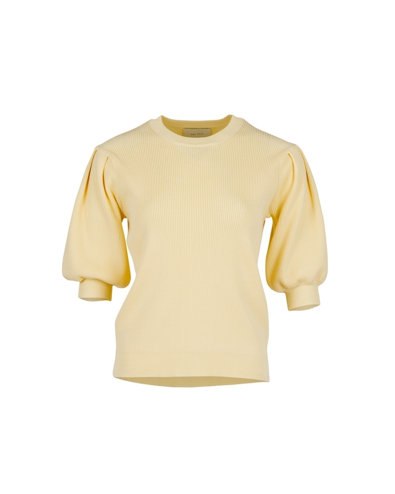 Bora solid knit blouse LIGHT YELLOW