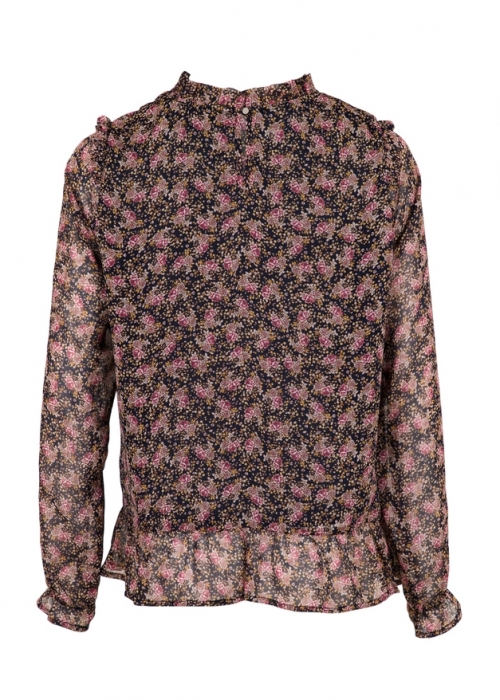 Tyrah boho flower shirt  NAVY