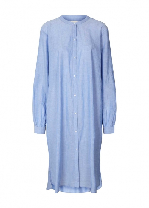Basic shirt dress DUSTY BLUE