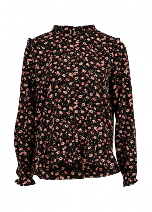 Tyrah single flower shirt BLACK