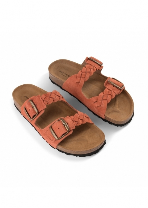 Cara suede slip in sandaler CORAL RED