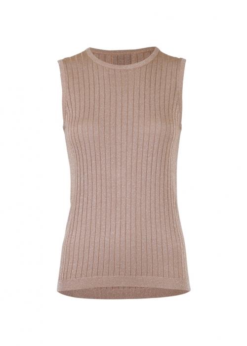 Ally solid knit waistcoat DARK SAND