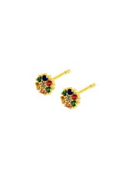 Ørestikker i blomst med multifarvede sten GULD