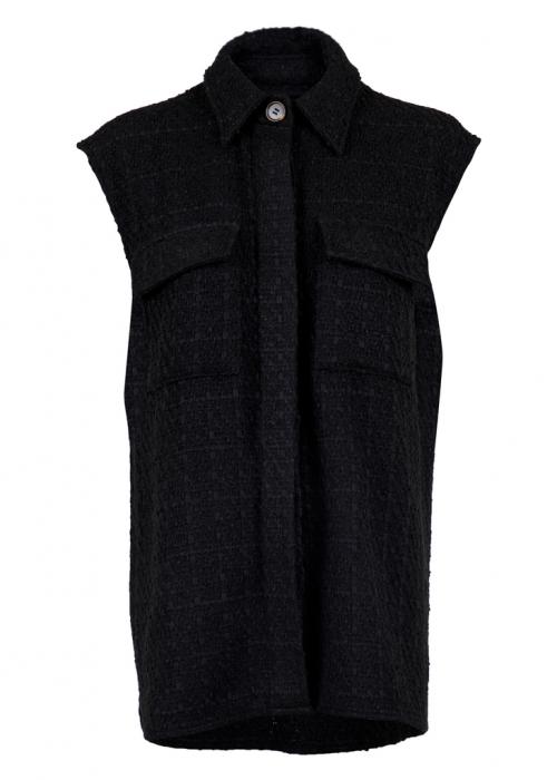 Cable bouclé waistcoat BLACK