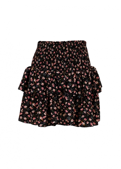 Carin single flower skirt BLACK