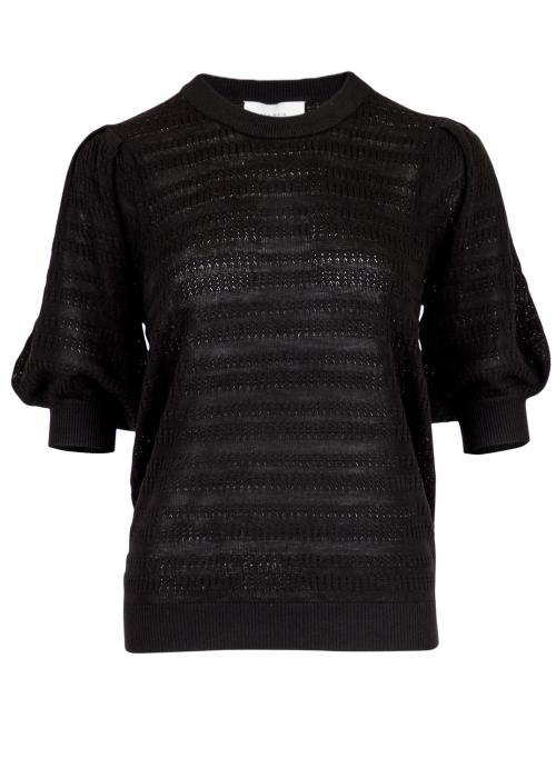 Bora stitch knit blouse BLACK
