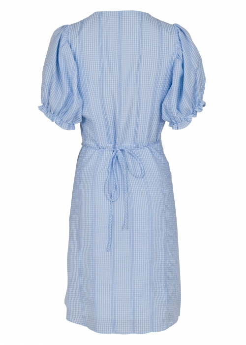 Spang mini check dress LIGHT BLUE
