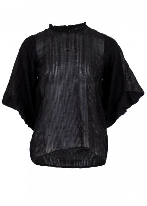 Riko hobby check blouse BLACK