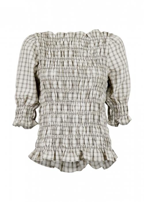 Kara smock check blouse SAND