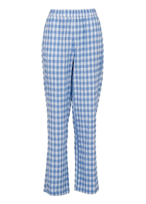 Zena summer check pants LIGHT BLUE