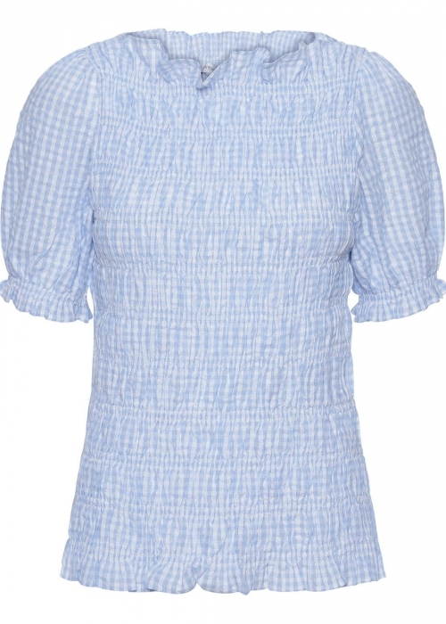 Julia check smock top BLUE/WHITE