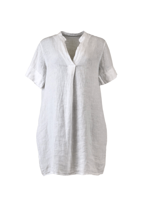 Lima linen tunic dress WHITE