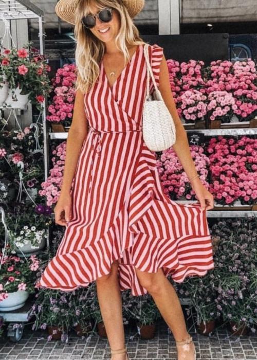 Mand broad stripe dress RED
