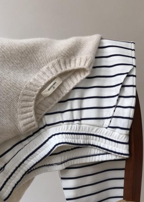 Saga striped pant OFF WHITE/NAVY
