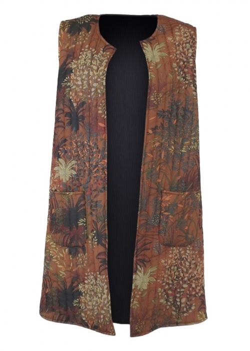 Joanna long quiltet vest CAMEL