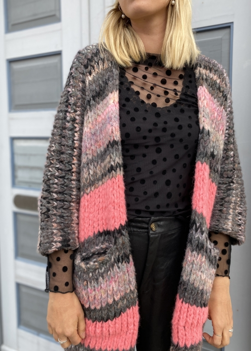 Cassie chunky cardigan PINK / GREY COLORS ( Preorder - levering November )