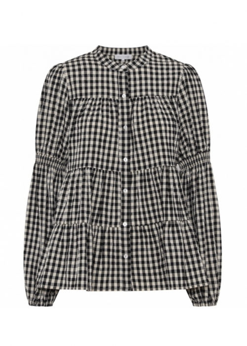 Sanna small check shirt BLACK (Preorder - levering slut oktober)