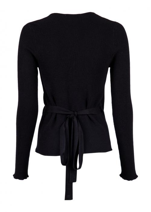 Tilly wrap knit blouse BLACK