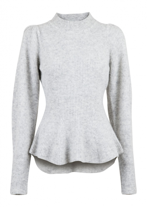 Nola knit blouse LIGHT GREY MELANGE