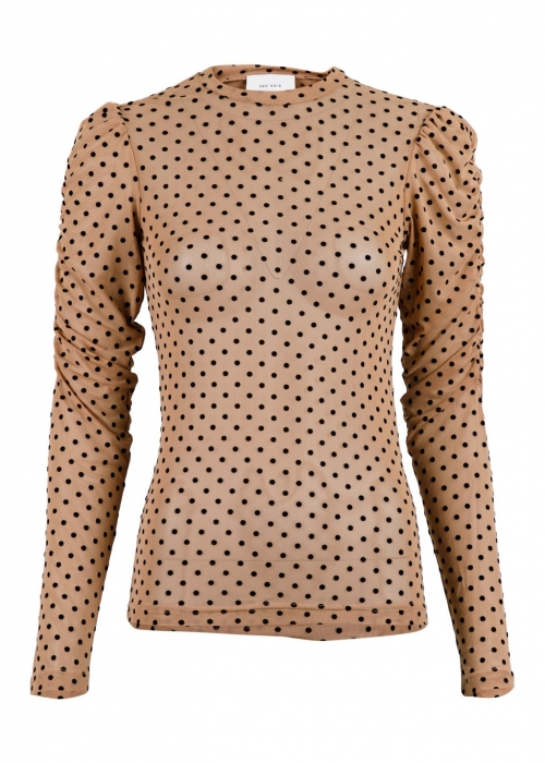 Ketter mesh dot blouse CAMEL