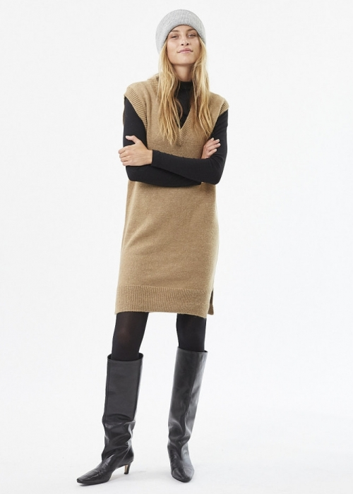 Paja long knit vest CAMEL