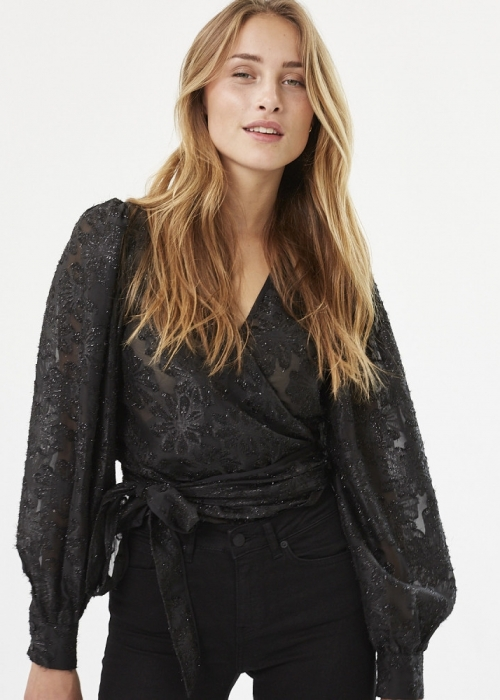 Patti wrap shirt BLACK