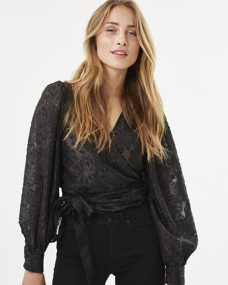 Patti wrap shirt BLACK