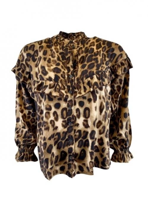 Luna ruffle shirt LEOPARD