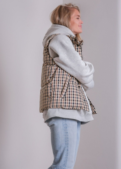 Frankie check puffer waistcoat BROWN CHECK