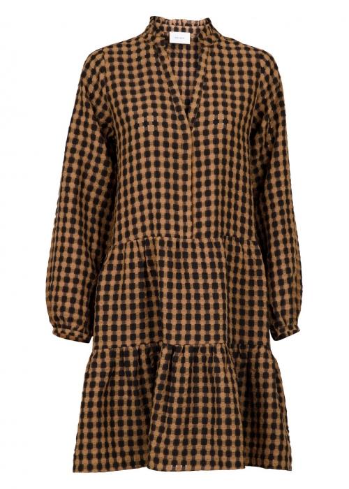 Federica airy check dress CAMEL