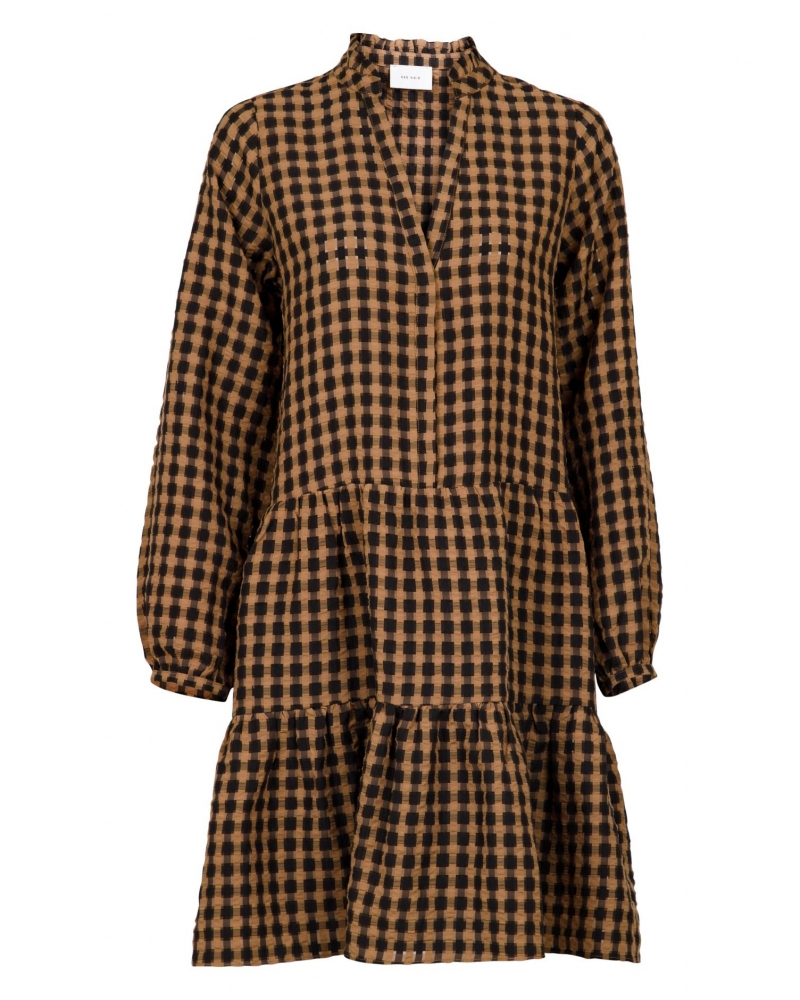 Federica airy check dress CAMEL