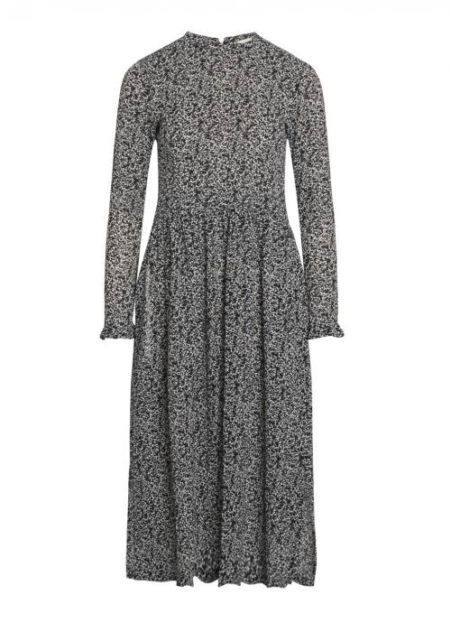Bumpy flower docca dress BLACK / WHITE